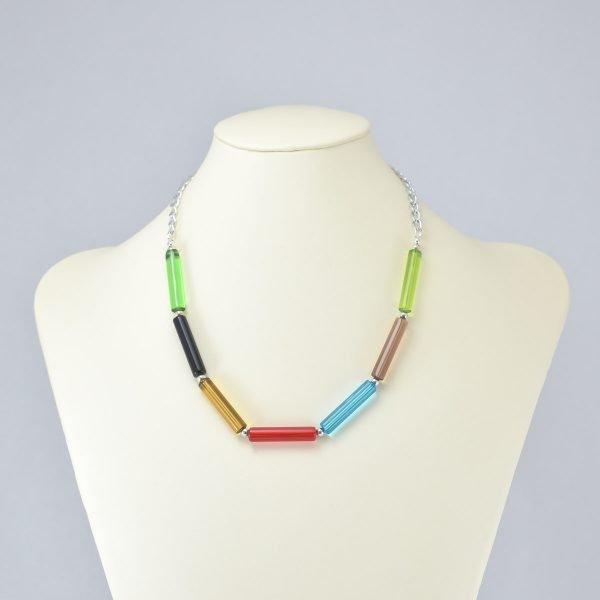 Collar de tubos de vidrio multicolor