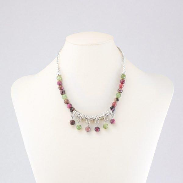 Collar verde y rosado de rodonita y jade