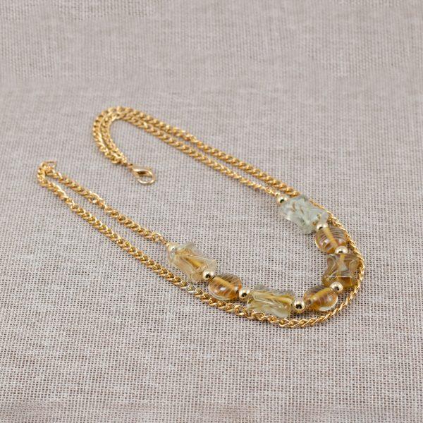 Collar doble de vidrio artesanal con cadenas doradas