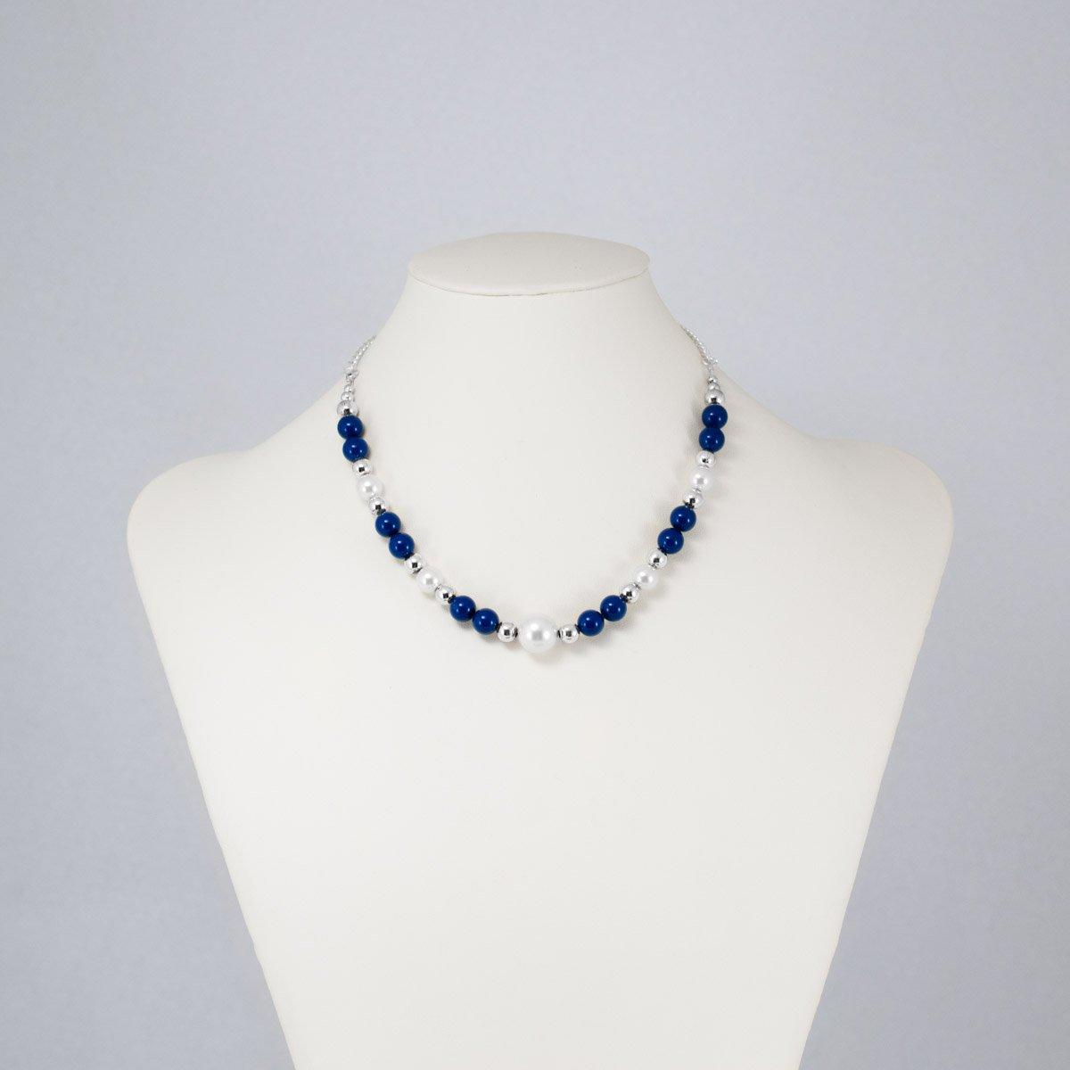 Collar de perlas Swarovski blancas y azules
