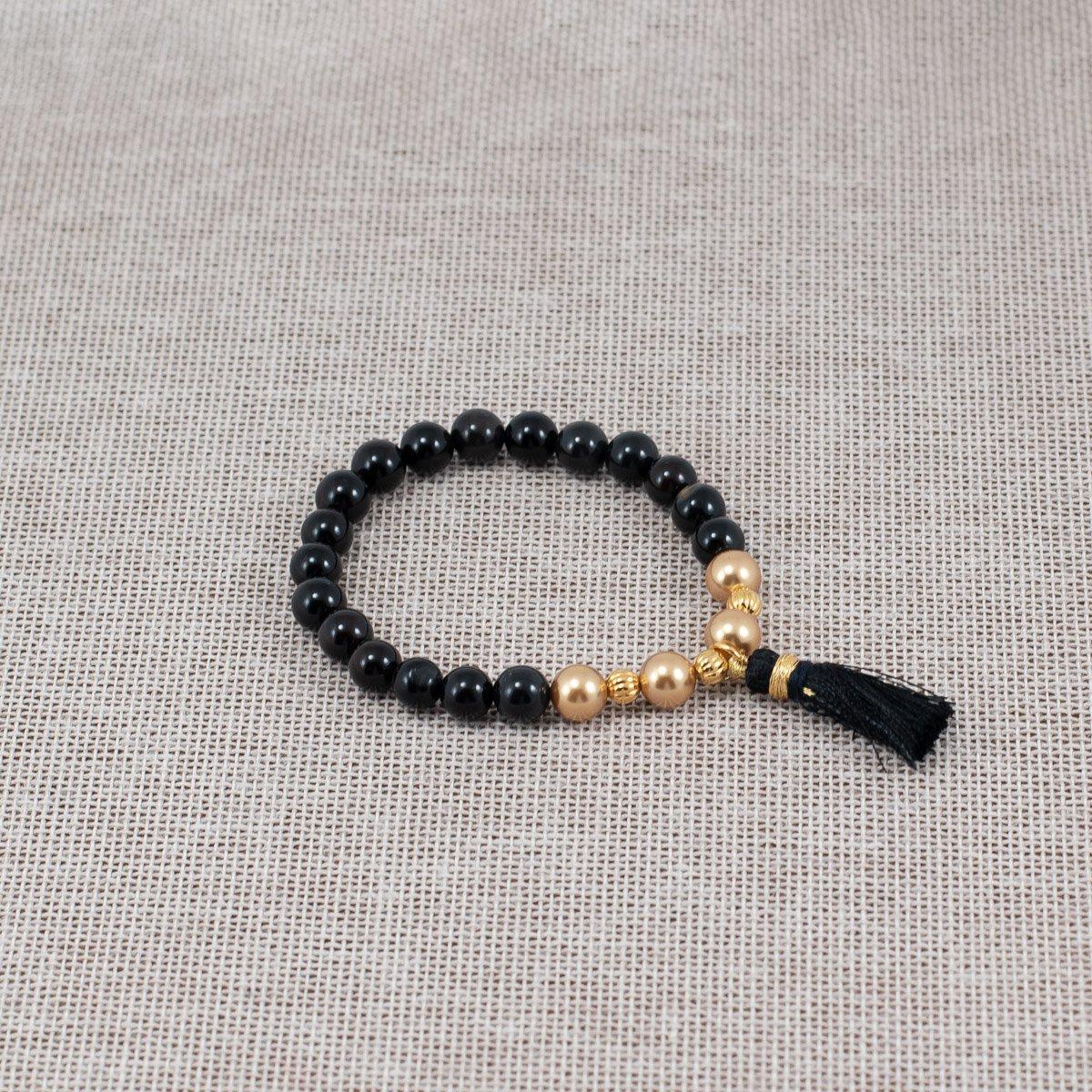 Pulsera de ágata con perlas Swarovski doradas
