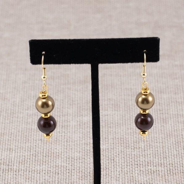 Aretes de perlas Swarvski bronce y chocolate
