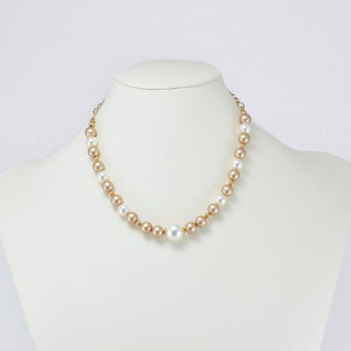 Collar de perlas Swarovski champán y crema