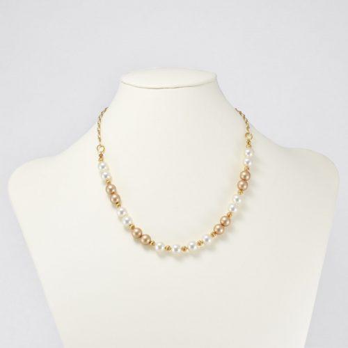 Collar de perlas Swarovski champagne y crema