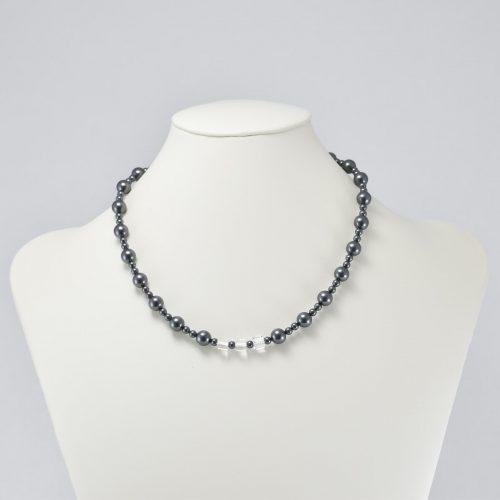 Collar de perlas negras y cristales Swarovski