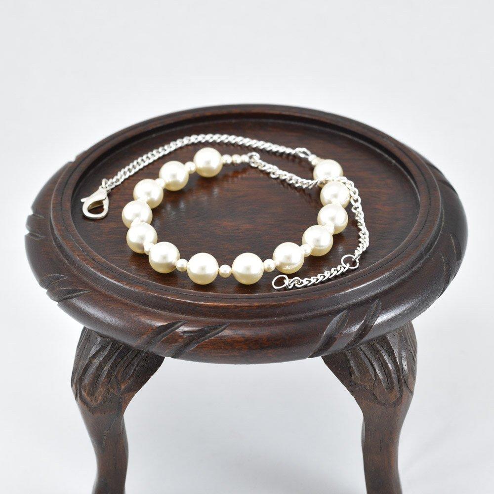 Collar de perlas swarovski color crema