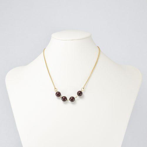Collar de perlas Swarovski marrones
