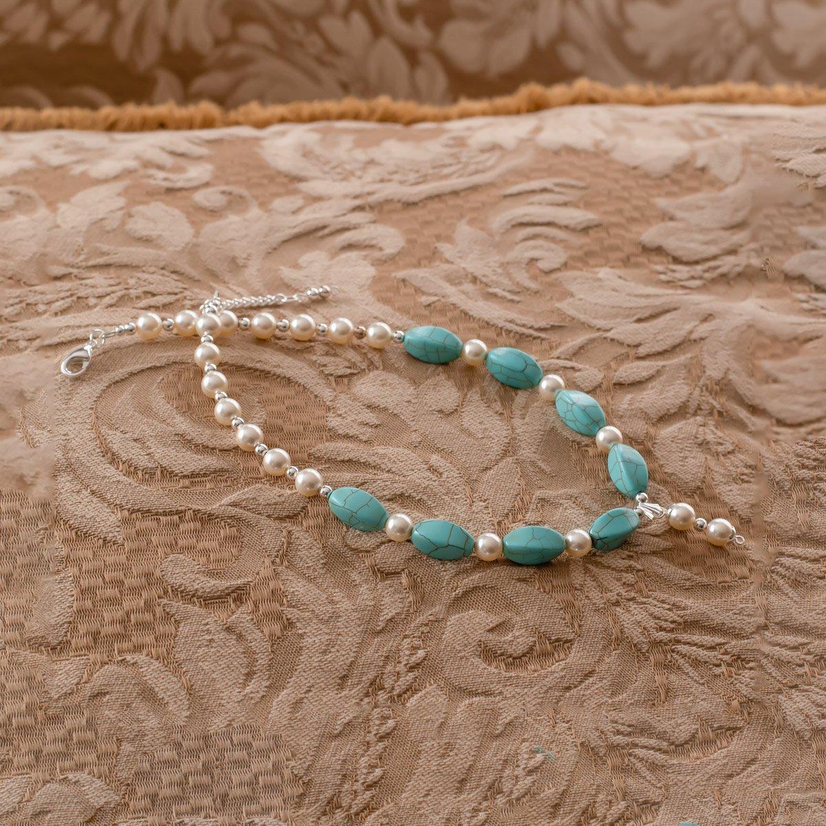 Collar de perlas Swarovsky y magnesita turquesa