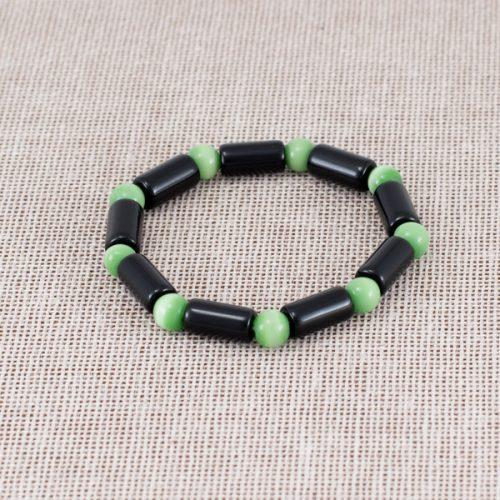 Pulsera de vidrio negro y verde