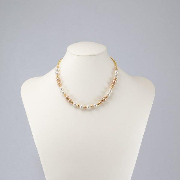 Collar de perlas color crema y champan