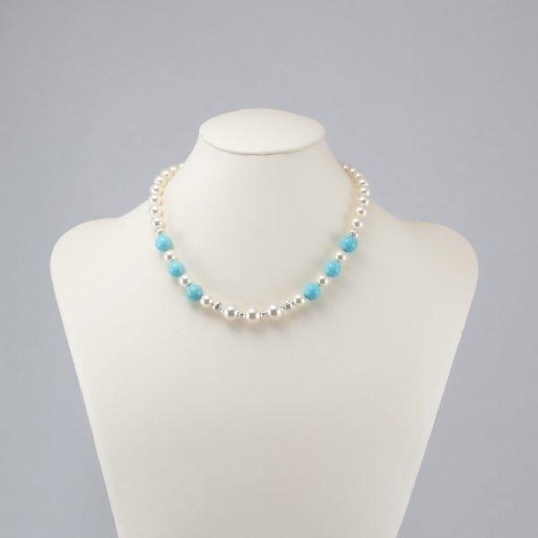 Collar de perlas Swarovski y magnesita turquesa